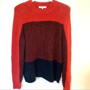 Sandwich colour block cozy acrylic wool sweater